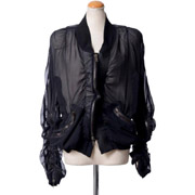 ハイダーアッカーマン 袖シャーリングブルゾン 透け感のある素材 ブラック