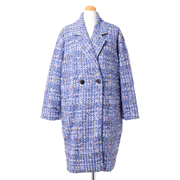 コーヘン ツィードショート丈コート ミックス ブルー