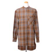 アニオナ 前開きシャツ 羊毛カシミア ブラウンチェック