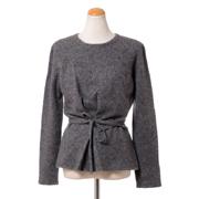 アニオナ リボン付き長袖セーター カシミアストレッチ ライトグレー