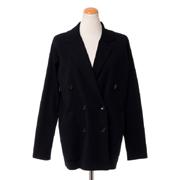 アニオナ ダブルジャケット 羊毛シルク ブラック
