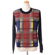 ソニアリキエル ミックス編み丸襟セーター 圧縮ウール チェック