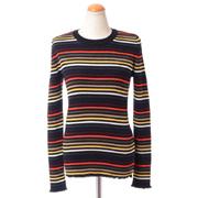 ソニアリキエル リブ編み丸襟セーター ウールニット ボーダー