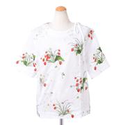 スポーツマックスコード 丸襟刺繍半袖ブラウス コットン ホワイト
