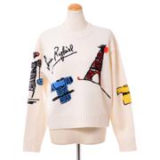 ソニアリキエル 刺繍入りセーター ウール ホワイト