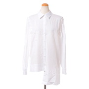 ロゼッタゲッティ スプリットボタンシャツ コットンポプリン ホワイト