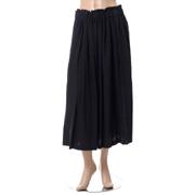 パドカレ ウエストゴムギャザースカート ウールミックス ブラック