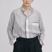 パドカレ パジャマシャツ襟ブラウス インドコットン ストライプ