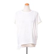 パドカレ 別布付き半袖Tシャツ リネン天然染め ホワイト