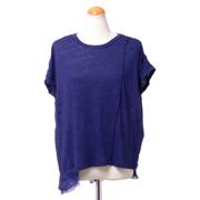 パドカレ 別布付き半袖Tシャツ リネン天然染め パープル