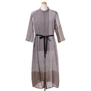 パドカレ シャツ襟長袖ワンピース 植物繊維竹バンブーコットン グレー