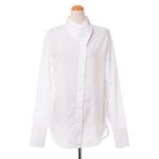 テラ 変形襟の長袖シャツ コットン ホワイト