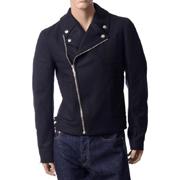 クリスヴァンアッシュ ライダースジャケット perfecto jacket ウールカシミアフェルト ブラック