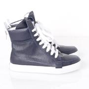 クリスヴァンアッシュ ハイカットスニーカー zip sneakers カーフスキン ネイビー
