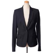 メゾン マルタンマルジェラ エルボーパッチ付きスーツジャケット ウール ブラックストライプ