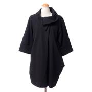 ジョセフリブコフ 立ち襟コート ジャージー ブラック