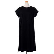 プラスプラス 半袖ワンピース切り替え付き コットンサテン ブラック
