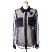 ヌメロヴェントゥーノ レースブラウス ポケット付き シルク ブラック