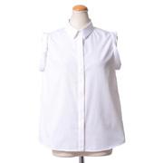 ヌメロヴェントゥーノ ノースリーブシャツ襟カットワークブラウス コットン ホワイト