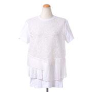 ヌメロヴェントゥーノ シルクレース刺繍Tシャツ コットン ピュアホワイト