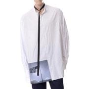 ラフシモンズ アメリカンフラッグオーバーサイズドシャツ コットン ホワイト