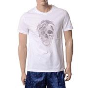 アレキサンダーマックイーン スネークスカルモチーフTシャツ ホワイトブラック