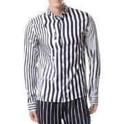 ハイダーアッカーマン ストライプシャツ シルク ブラックホワイト