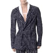 ハイダーアッカーマン ショールカラーチェックジャケット シルク ブラックホワイト