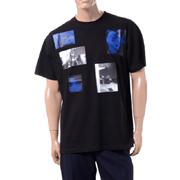ラフシモンズ 6ピクチャーズプリントビッグフィットTシャツ コットン ブラック
