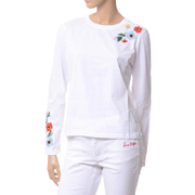 ソニアリキエル 花柄刺繍入りロングTシャツ コットン ホワイト