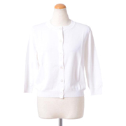 アントニオマラス 七分袖丸襟カーディガン レーヨンストレッチ ホワイト