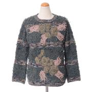 アントニオマラス 刺繍丸襟セーター モヘア混合 ダークシーグリーン