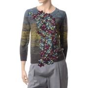 アントニオマラス ミックス柄8部袖丈セーター ヴァージンウール 刺繍入り
