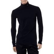 ラフシモンズ R刺繍タートルネックロングTシャツ コットン ブラック
