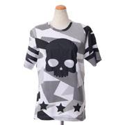 ハイドロゲン 迷彩柄スカルプリントTシャツ コットン グレー