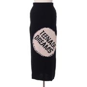 ラフシモンズ ロングニットジャガード織スカート ブラックピンク
