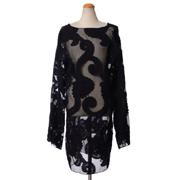 アンドゥムルメステール 透かしオーガンジーワンピース チュール刺繍 ブラック
