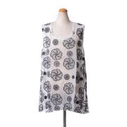 アンドゥムルメステール ノースリーブ刺繍ブラウス シルク ホワイト/ブラック