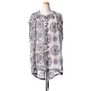アンドゥムルメステール フレンチスリーブ刺繍ブラウス シルク ホワイト/ブラック