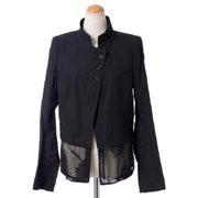 アンドゥムルメステール シフォン裾ジャケット コットン ブラック