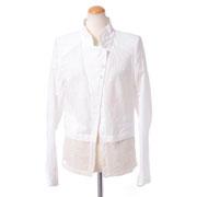 アンドゥムルメステール シフォン裾ジャケット コットン ホワイト
