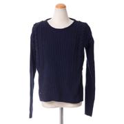 ワンダーカインド アラン編み丸襟セーター メリノウールカシミア ネイビー