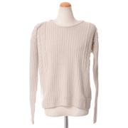 ワンダーカインド アラン編み丸襟セーター メリノウールカシミア ベージュ