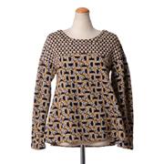 オデイ 丸襟長袖セーター ジャガード織り ハートフラワープリント