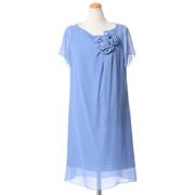 ランバン フラワー付き半袖ドレス シルクシフォン ブルー
