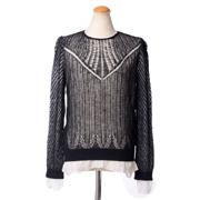 アレキサンダーマックイーン 透かし編みセーター ウールシルク ブラック