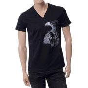 エンポリオアルマーニ イーグルプリントVネック半袖Tシャツ ブラック