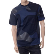 エンポリオアルマーニ ミリタリープリントラウンドネック半袖Tシャツ ネイビー