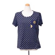 エンポリオアルマーニ ドッドプリント半袖Tシャツ コットンジャージー ネイビー