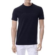 アルマーニジーンズ シンプルラバープリントロゴTシャツ ネイビー